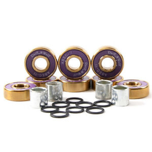 Dark-Wolf-Skateboard-Bearings-Titanium-ABEC-11-Purple-Gold-8pcs-with-4x-Spacers