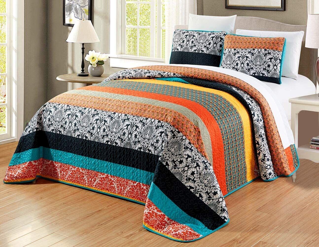 Picture of: Multi Color Striped Blue Orange Black Reversible Queen Size Coverlet Bedspread For Sale Online