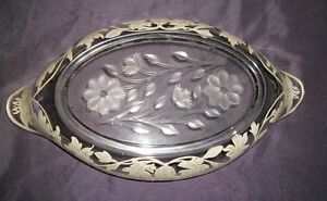 Vintage-Fostoria-Etched-Gold-Painted-Floral-Leaf-Relish-Dish-13-034-X-7-034