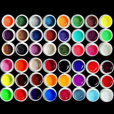 Nail Art 48 Colors Pure Glitter Powder Flake UV Builder Gel Salon DIY Decor Sets