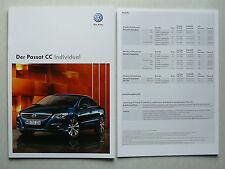 Prospekt Volkswagen VW Passat CC Individual, 10.2009, 16 Seiten + Preisliste