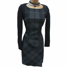 KAREN MILLEN Black Grey Check Tartan Wool Blend Winter Wiggle Pencil Dress UK 12