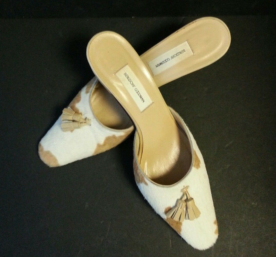 BERGDORF GOODMAN Pony Hair Tassle Slip on Pumps shoes Made in  Womens 9.5B