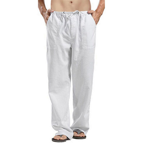 Men/'s Trousers Summer Solid Casual Pants Male Straight Loose Trousers Pants