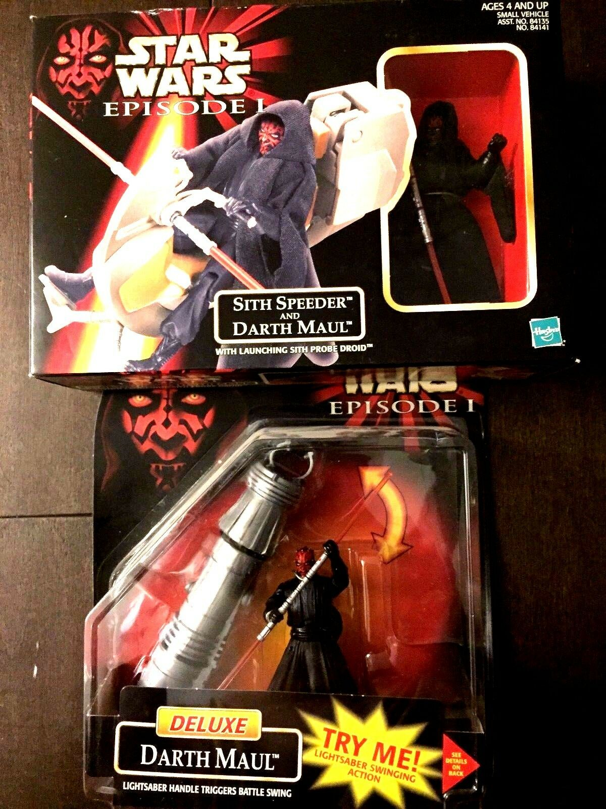 1998 Hasbro Star Wars Episode I Deluxe Darth Maul & Sith Speeder Two Figure Lot