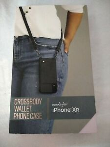 New Black Crossbody Wallet Phone Case For Apple iPhone XR