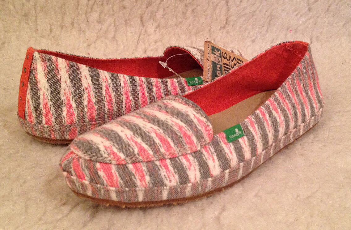NWT Sanuk FOLKLORE Off White Multi color Canvas Flats shoes Womens 9 M