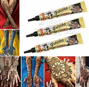 3 X Golecha Henna Paste Black In Tubes 0 9 Oz Mehndi Tatoo