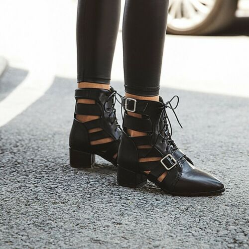 Details about  /Womens Pointy Toe Cuban Med Heel Shoes Strappy Ankle Boots Cut Out Buckle Party