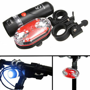 Bicycle Bike 5 LED Front Head Torch Light 9 LED Back Rear Tail Flashlight Lamp