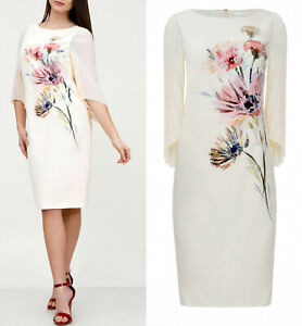 Jacques-Vert-Floral-Wedding-Church-Party-Mother-of-Bride-Cream-Midi-Dress-8-24