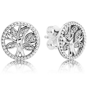PANDORA-Ohrstecker-Ohrringe-Earrings-297843-CZ-Trees-of-Life-Silber