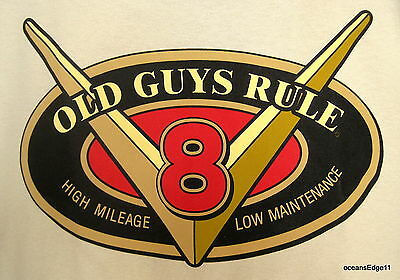 V8 Oval,Old Guys Rule,Pocket Tee,2XLarge,Sand,High Mileage,Low Maintenance!
