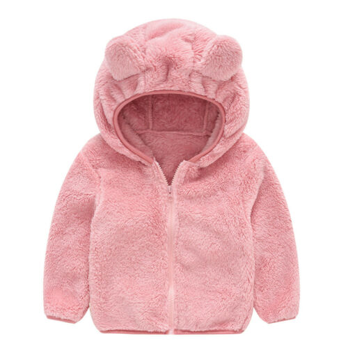 Toddler Kids Baby Gril Boy Zip Solid Thick Hooded Coat Winter Warm Outwear Tops