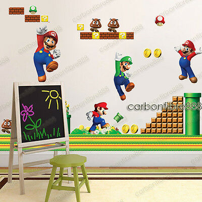 Huge Combo SUPER MARIO BROS Wall Stickers Removable Art Decor Boys Kids Bedroom