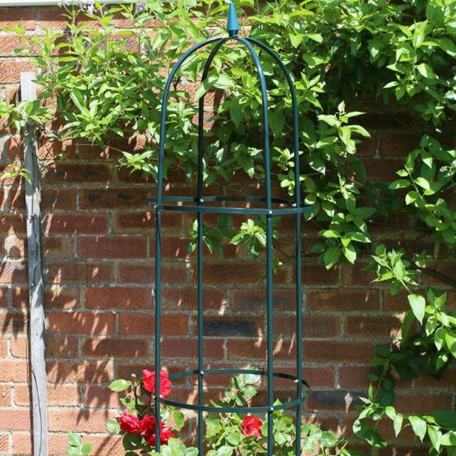 Garden Obelisk 190cm Steel Tubing Plant Support Dark Green Tall Climbing Rose Pl