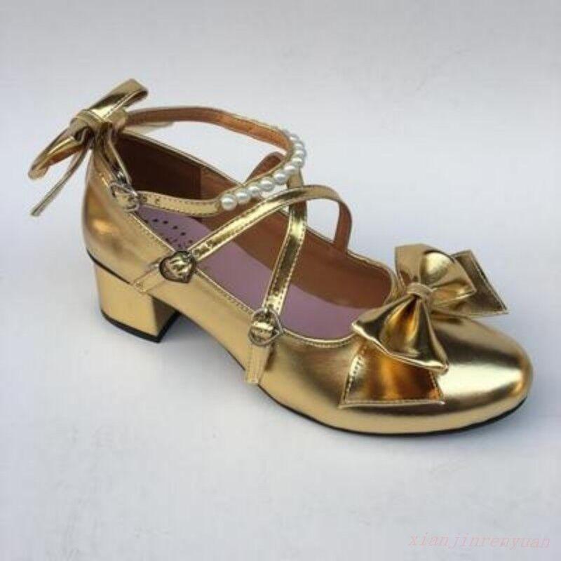 Mujeres de euros japonés 4.5cm Bloque Talón Lolita Moño Zapatos Puntera rojoonda