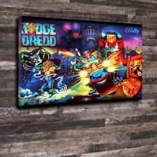 "Judge Dredd Pinball Back Glass Printed Canvas A1.30""x20""Deep 30mm Frame Mancave"