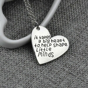 Silver-Plated-Teachers-Love-Heart-Pendants-Necklace-Gifts-Charms-Chain-Jewelry