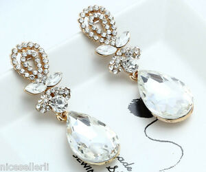 1-Pair-Elegant-White-Crystal-Rhinestone-Ear-Drop-Dangle-Stud-long-Earrings-206