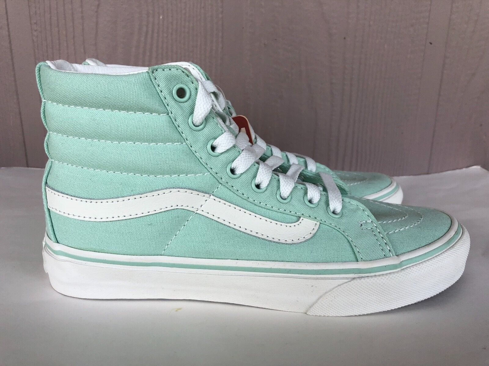 Women's Vans SK8-Hi Slim Racing Canvas Casual Mint Green Size 6.5 721454