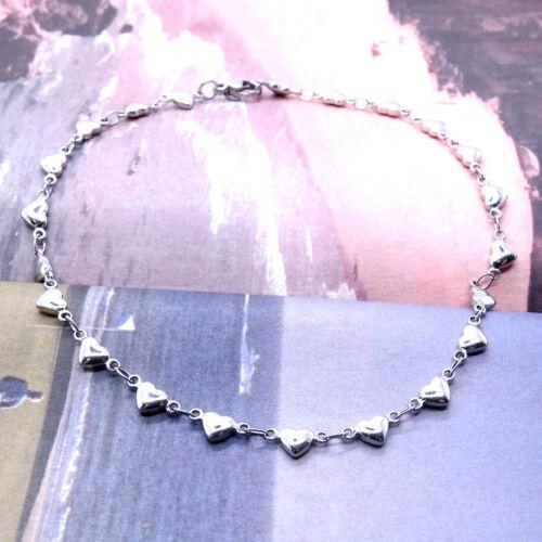 """Acier Inoxydable Bracelets de cheville Love Heart Charm Bracelet de cheville 11/"""" Pouces SSA006-11"""