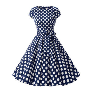 Women-039-s-1950s-Vintage-Polka-Dot-Party-Prom-Cap-Sleeve-Swing-Dress-with-Belt