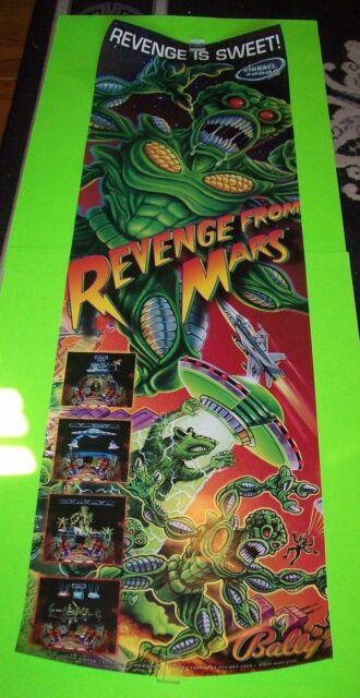Bally REVENGE FROM MARS 1999 Original Pinball Machine 48 X 15 Promo POSTER Alien