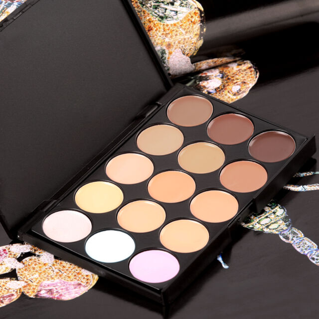 Makeup Neutral Face Eye shadow Camouflage Cosmetic Concealer Palette 15 Colors