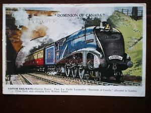 POSTCARD DOMINION OF CANADA LNER CLASS A4 LOCO WITH THE FLYING SCOTSMAN AT WELWY - Tadley, United Kingdom - POSTCARD DOMINION OF CANADA LNER CLASS A4 LOCO WITH THE FLYING SCOTSMAN AT WELWY - Tadley, United Kingdom