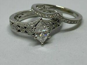14k-White-Gold-Finish-3-00-Ct-Marquise-Cut-Diamond-Engagement-Wedding-Ring-Set
