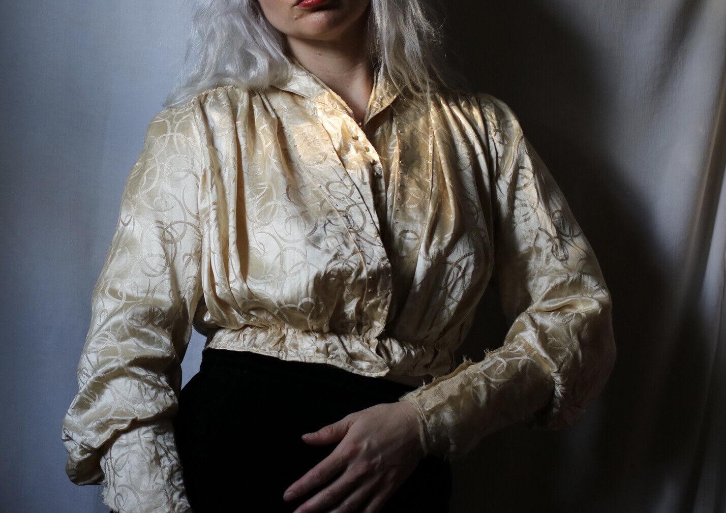 Antique Edwardian Silk Cream Crescent Moon Blouse - image 1