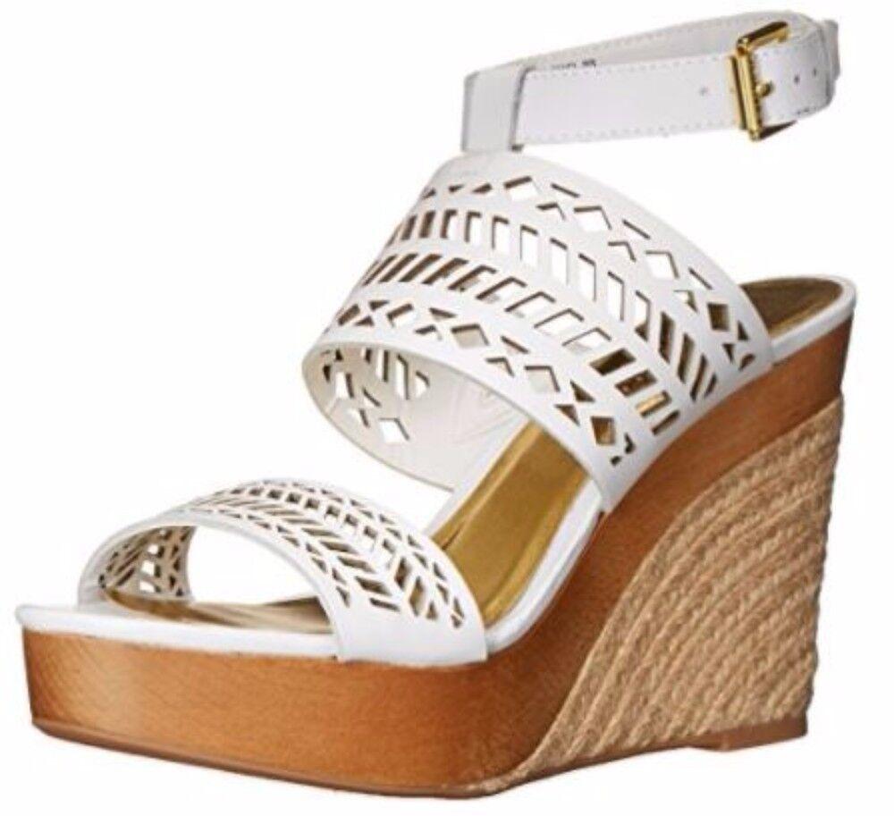 damen Ralph Lauren Lauren Lauren GEORGINA Espadrille Platform Wedge Sandal Heels Lthr Weiß df15da