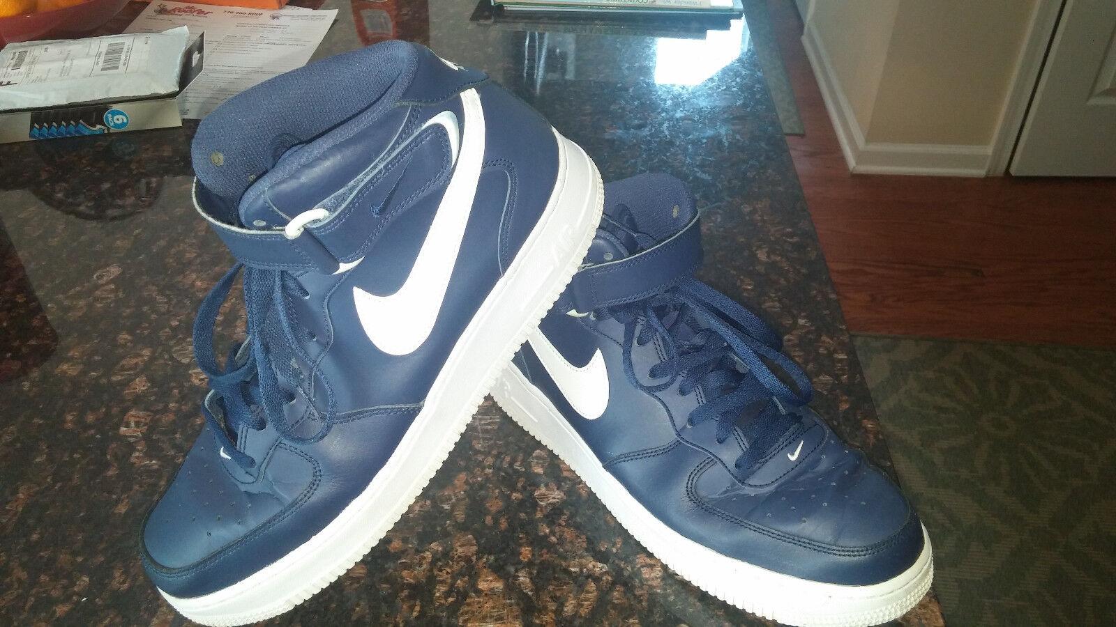 Nike AF1 Air Force Ones Högsta flottans blå blå blå blå amerikanska storlek 10 EUR 44 EU -uppgifter  no.1 online