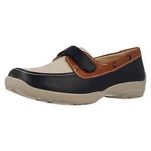 EASY-B-da-DB-039-ELISABETTA-039-blu-navy-donna-Beige-pelle-marrone-scarpe-barca