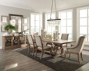 Details About NEW 7PC FORMAL RUSTIC WEATHERED WOOD DINING TABLE CREAM  TUFTED LINEN CHAIRS SET