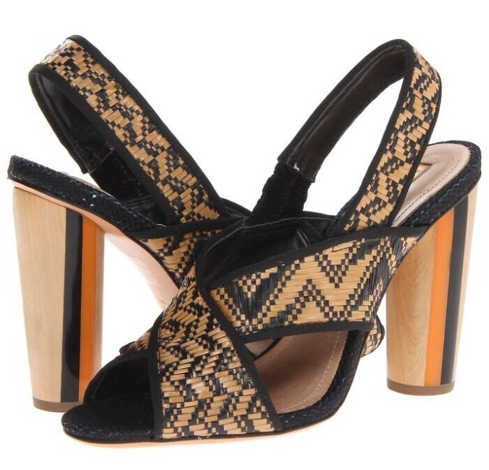 negozio outlet Schutz Dolorcita Natural And nero nero nero Leather And Woven Peep Toe Sandal Dimensione 8 New  edizione limitata