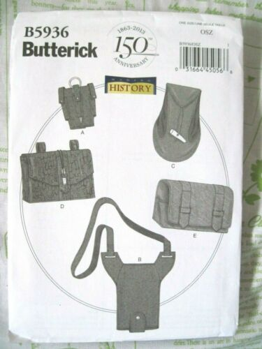 NEW BUTTERICK SEWING PATTERN B5936 HISTORICAL GAUNTLET WATER CARRIER /& POUCHES