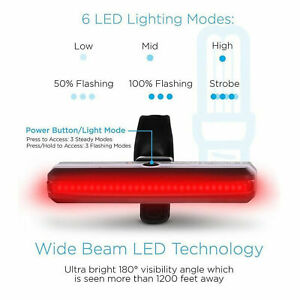 COB USB LED Bicyclette Vélo Vélo Vélo Avant Arrière Feu Arrière 6 Modes Lampe
