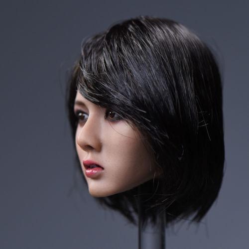 1//6 scale Asia Female Head Carving YMTOYS Short Black Hair Girl Head Model