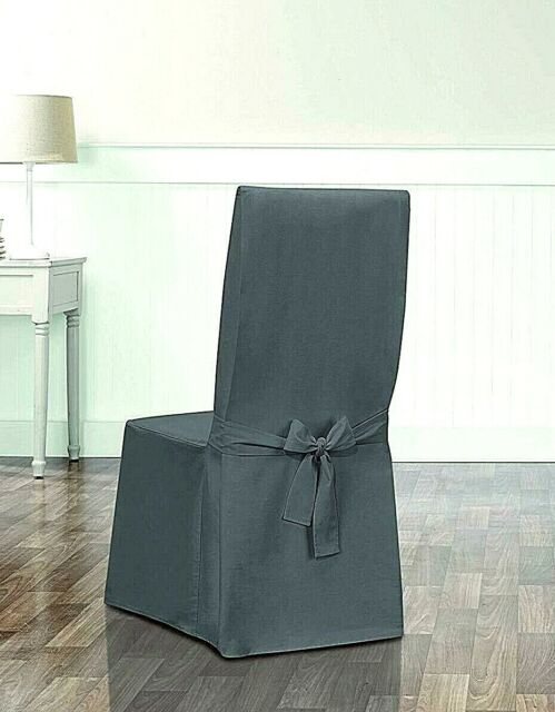Peachy Sure Fit Designer Essential Twill Dining Chair Slipcover Smoke Gray Slip Cover Pabps2019 Chair Design Images Pabps2019Com