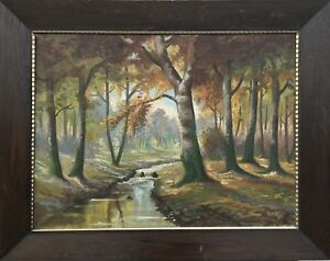 German-monogrammist-Sunny-Day-in-Autumn-Forest-Oil-Paintings-1920-Antique
