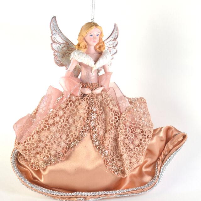 Rose Gold Blonde Angel Resin 9 Inch Christmas Ornament Kurt Adler NEW N02