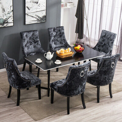2 4x Upholestered Velvet Dining Chairs With Knocker Ring