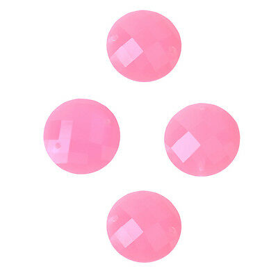 500pcs Deep Pink Faceted Round Charms Resin Flatback Buttons Sewing Crafts C