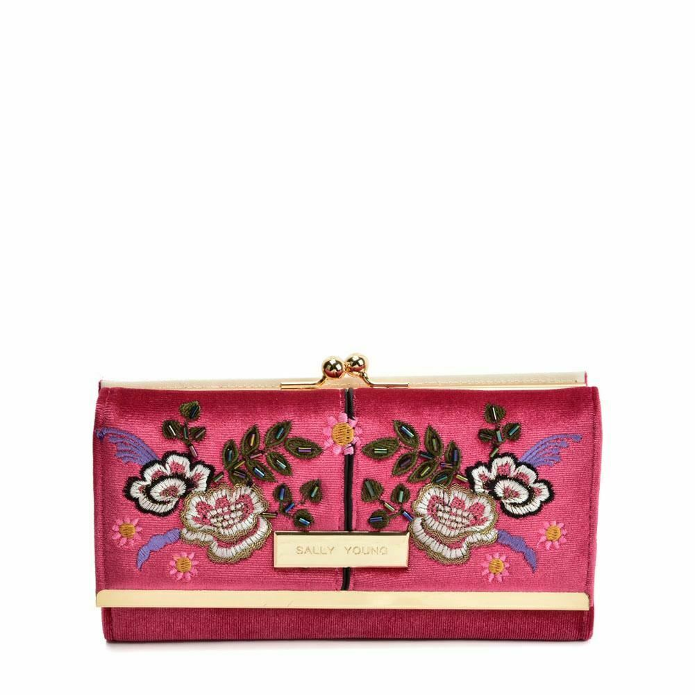 Ladies Wallet Purse DARK RED Retro Wallets Flower Design PU Leather Sally Young