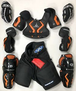 New Jr large equipment pants gloves shin elbow shoulder junior ice hockey set