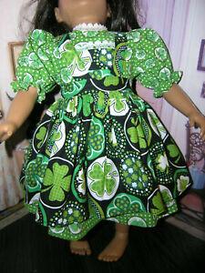Shamrock-Dress-Clover-Print-Apron-2-piece-Dress-23-034-Doll-clothes-fit-My-Twinn