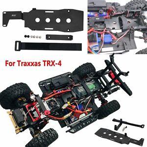 Para-Traxxas-TRX-4-T4-Bandeja-de-Bateria-del-Panel-de-Metal-Soporte-con-Correa