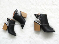 BLACK OPEN TOE Booties Shoes Stacked Chunky Block Heels Ankle Peep Leather 5-10